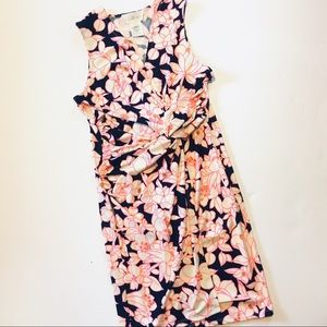 Julie Brown Navy Pink & White Knotted Dress